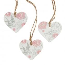 Colgantes de madera forma de corazón Rosa (6 uds)